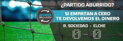 suertia bono 100 euros devolucion Real Sociedad vs Elche 28 noviembre