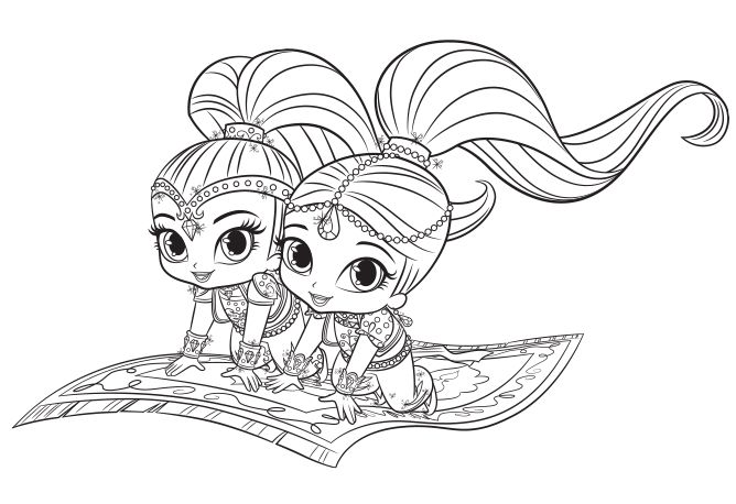 Shimmer And Shine Coloring Pages Pdf : Shimmer and shine färga och rita pinterest