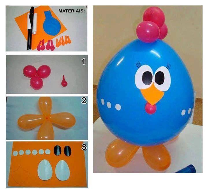 Gallina pintadita de globos