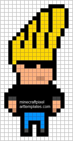 Minecraft Pixel Art Templates: Johnny Bravo