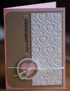layers: Cards Hearts Valentines, Cards Ideas, Handmade Anniversaries Cards, Love Cards, Heart Embossing Folder, Handmade Valentines Cards, Cards Valentines, Simple Style, Pink Cards