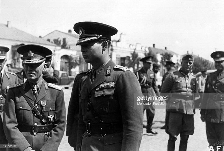 The Romanian prime minister Ion Antonescu, King Michael I of Romania and the German General Ewald von Kleist during an inspection. Odessa, September 1941