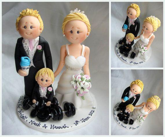 Bride and body builder groom wedding cake topper by ALittleRelic