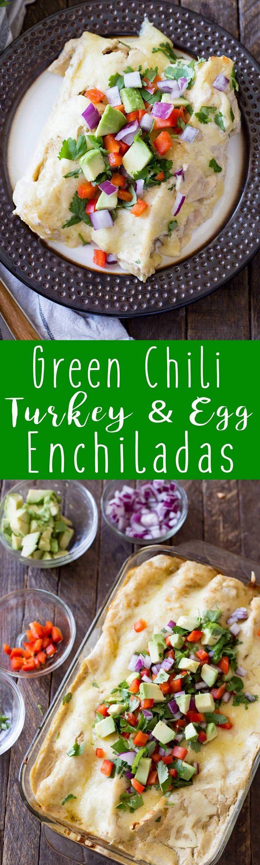 Creamy Green Chili Turkey & Egg Enchiladas