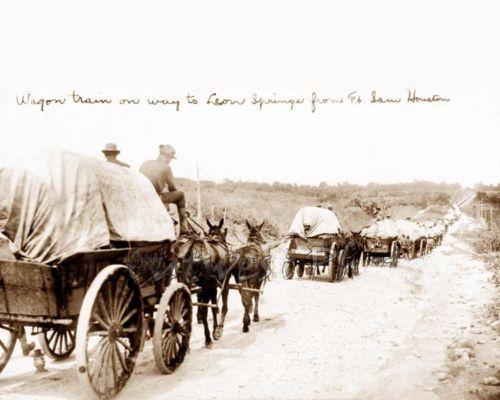 Covered wagons leaving Fort Sam Houston, Texas...