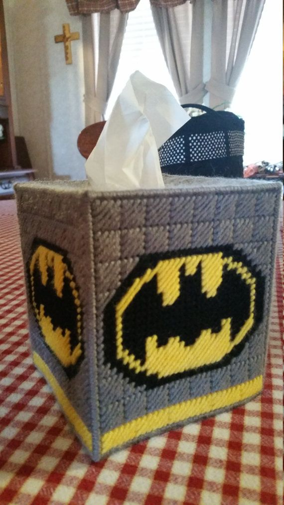 Handmade Batman Kleenex Tissue Box Cover. Made out of 7 count plastic canvas and yarn. Perfect for that Batman fan!! Smoke free home. Fits standard boutique size tissue box - not included.  I would appreciate it if you would favor my shop as I am adding new listings often. Thank you for visiting my shop.