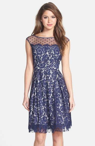 Eliza J Illusion Yoke Lace Fit & Flare Dress available at #Nordstrom