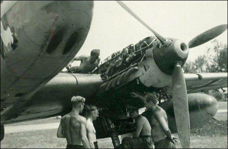 Engine maintenance. Messerschmitt Bf 110C of 6./ZG 26 ...
