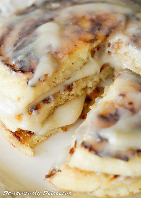 Cinnamon Bun Gluten-Free Pancakes from @DangDelicious