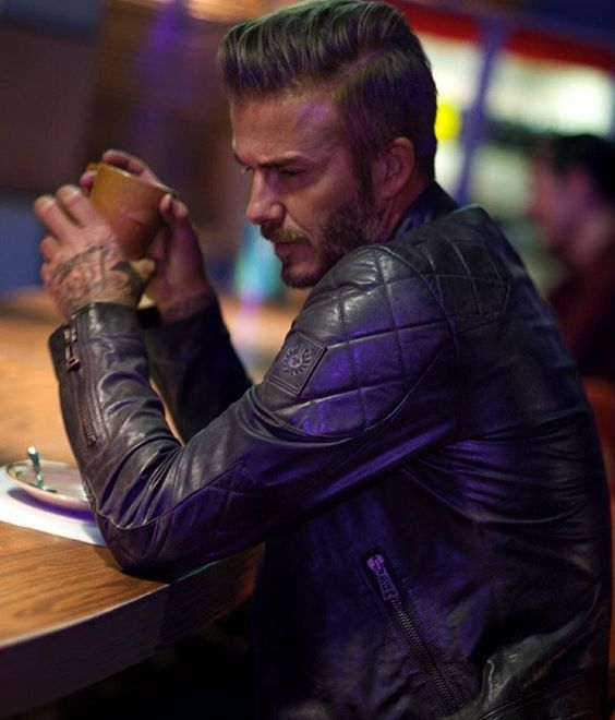 David Beckham Wearing a Belstaff Leather Jacket