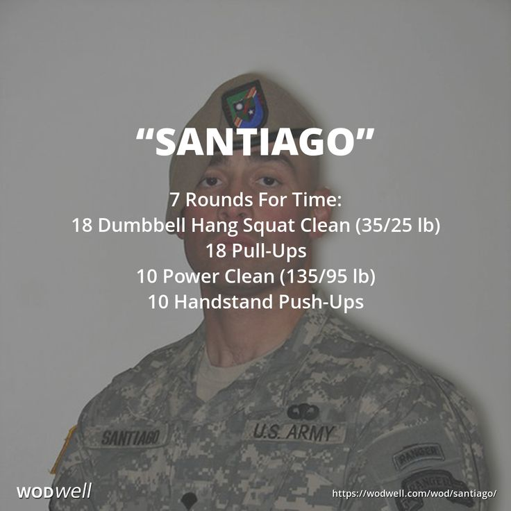 """""""Santiago"""" WOD - 7 Rounds For Time: 18 Dumbbell Hang Squat Clean (35/25 lb); 18 Pull-Ups; 10 Power Clean (135/95 lb); 10 Handstand Push-Ups"""
