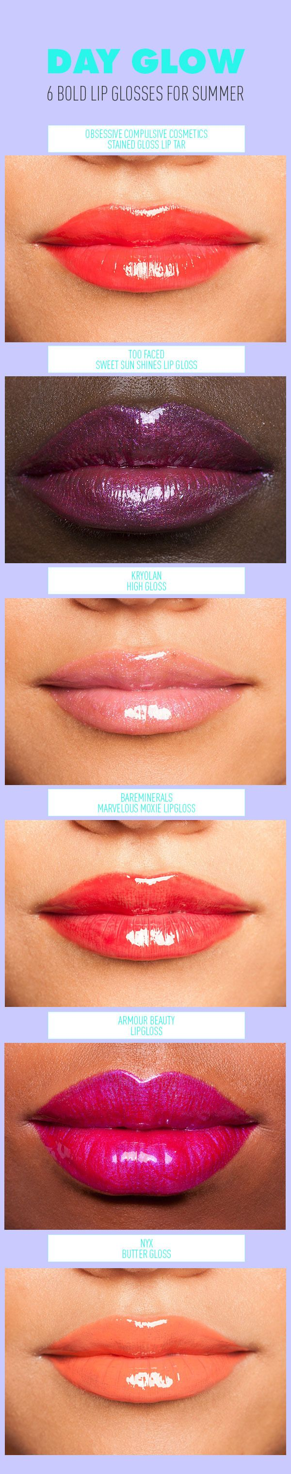 Day Glow! Six Bold Lip Glosses For Summer