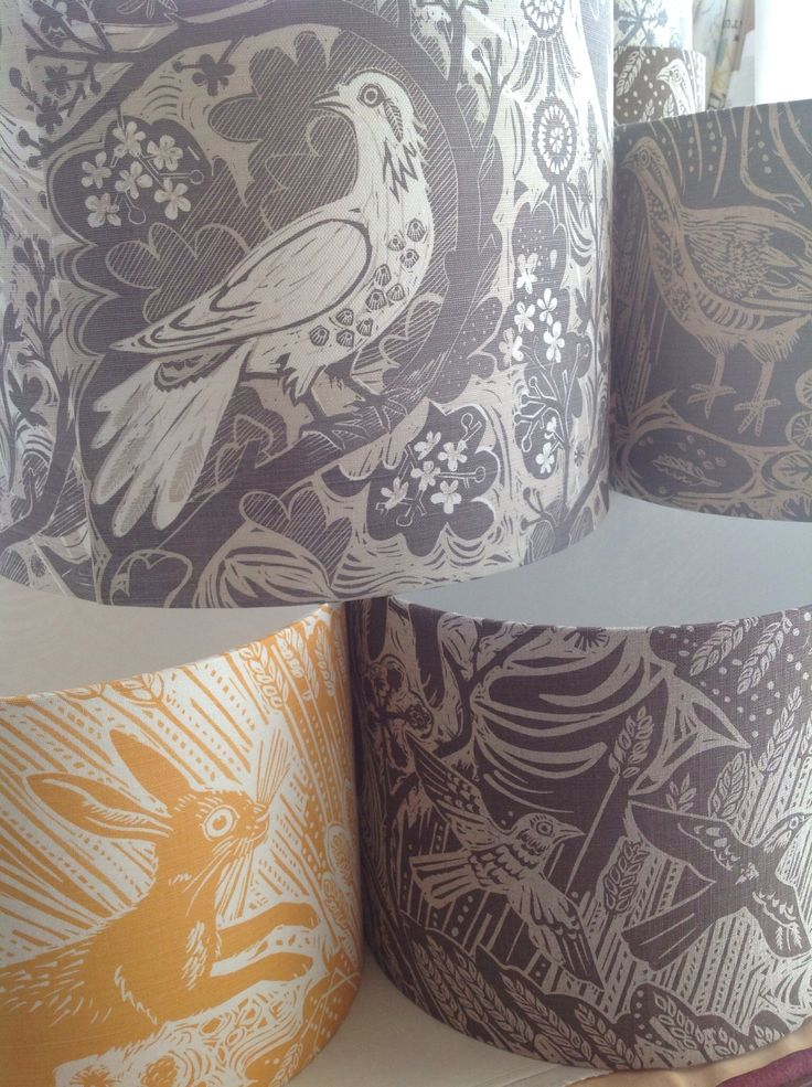 Lampshades available from Revill,Revill made in St.Jude's fabric, designed by Mark Hearld.