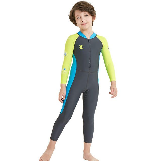 Kids Boys Wetsuit One Piece Long Sleeve Swimsuit Sun Protection UV Surf Suit