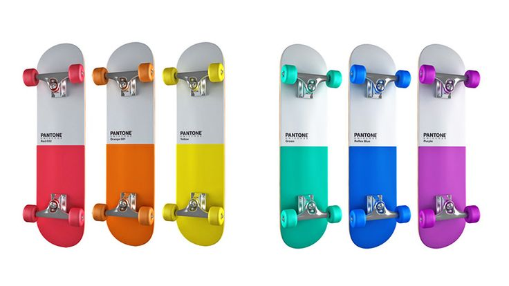 "The Pantone skateboards by Pavel Kulinsky are a passion project of the Polish designer who apparently made them ""just for fun."" With a rainbow of colors, the six skateboards are given colored wheels and each with their own Pantone hue.  #pantone"