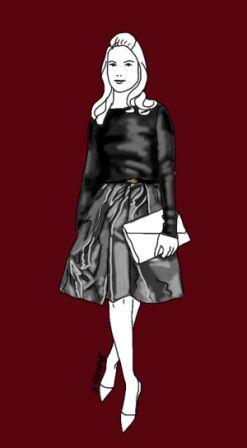 """Mit dem Mode-Basic """"schwarzer Pullover"""" lassen sich auch festliche Outfits zusammenstellen, z.B. mit einem metallisch glänzenden Rock. Wie das funktioniert, erfahren Sie auf modefluesterin.de"""