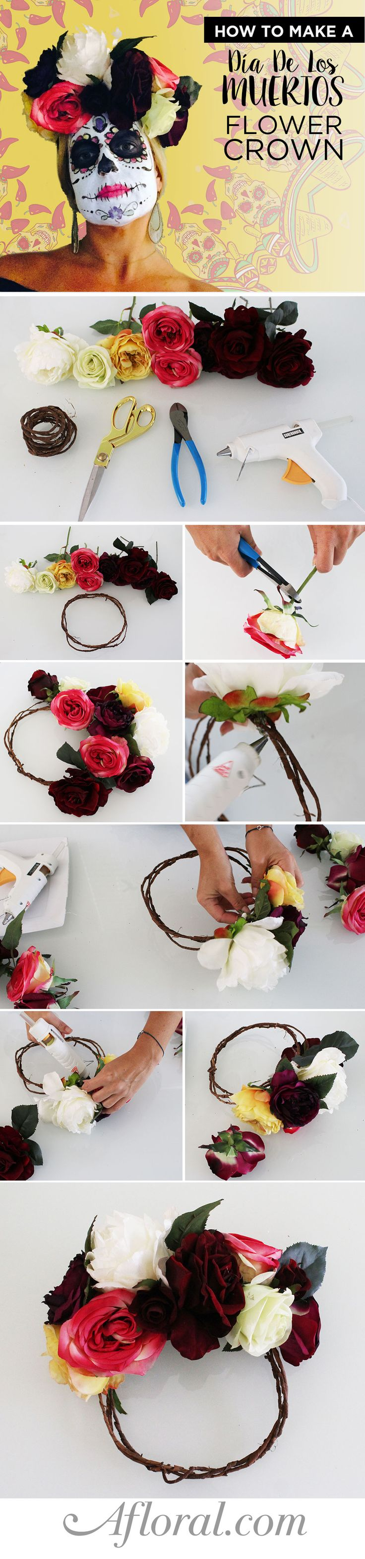 Dia De Los Muertos Flower Crown. Make your own floral crown for the Day of The Dead. Wow your friends with your Halloween costume this year with your one of a kind silk flower crown. So easy and affordable, you will want to wear it all the time!