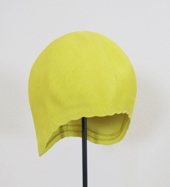 Vintage 1960's Yellow Rubber Swim Cap Hat by JLVintage on Etsy, $38.00