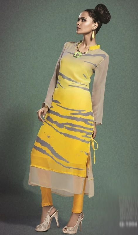 Be unique yet very attractive, with this yellow and gray color printed georgette tunic. This lovely attire is displaying some wonderful embroidery done with lace and print work. #fancykurti #georgettetunic #straighttunicsdesigns