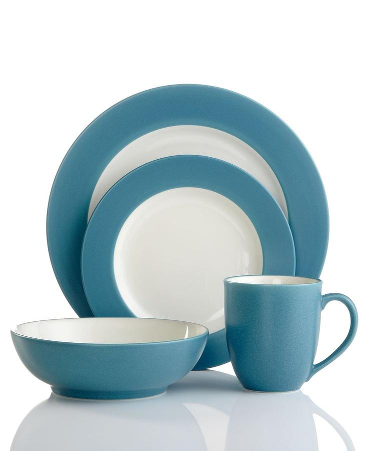 noritake dinnerware colorwave turquoise rim 4 piece place setting casual dinnerware dining u0026