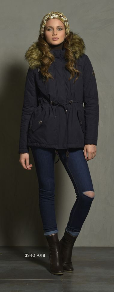 Ladies' jacket in demi length with detachable hood & fake fur around hood & boa fur inside as body lining. www.biston.gr