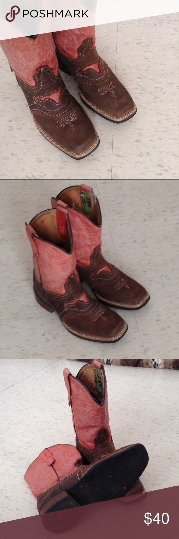 JNV Pink Cowgirl Boots   Made in Mexico   Leather Cowgirl boots for girls   Size 13   Made In Mexico JNV Shoes Boots