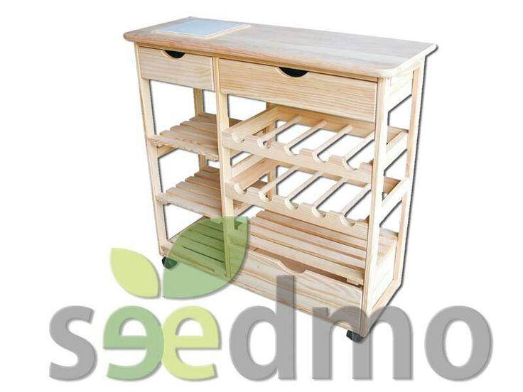 Mesa de cocina con botellero cajones estantes y ruedas - Estantes de cocina ...