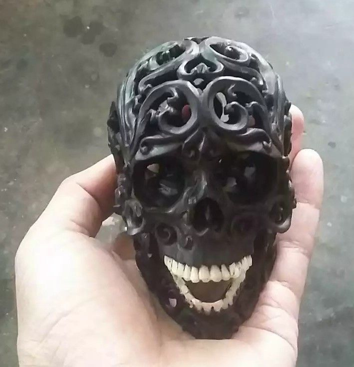 Hand Carved 4.3 inch Human Skull Tribal Natural Wood Carving #WCA01