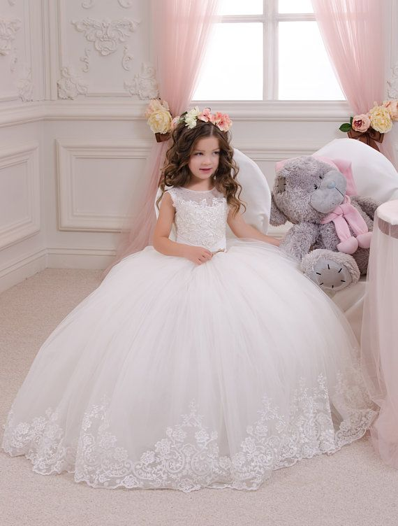vory Lace Flower Girl Dress - Wedding Party Bridesmaid Holiday Birthday Ivory Tulle Lace Flower Girl Dress