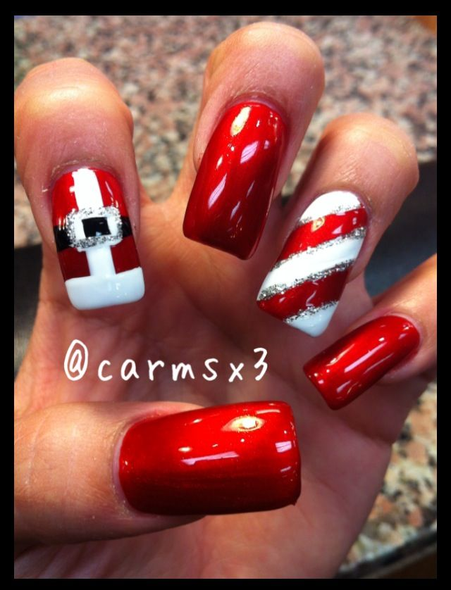 Christmas nails, Santa buckle & candy cane. Loveeee!