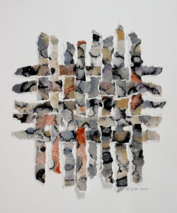 Love the colors and the torn edges of this paper weaving byBecky Kisabeth Gibbs
