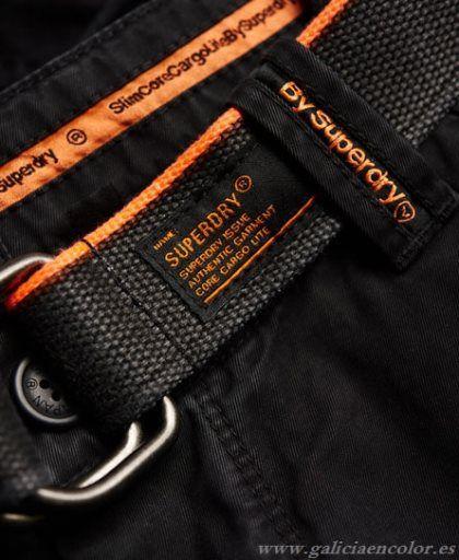 Superdry Pantalones Negro Core Cargo Lite Lavado - Haga click en la imagen para cerrar