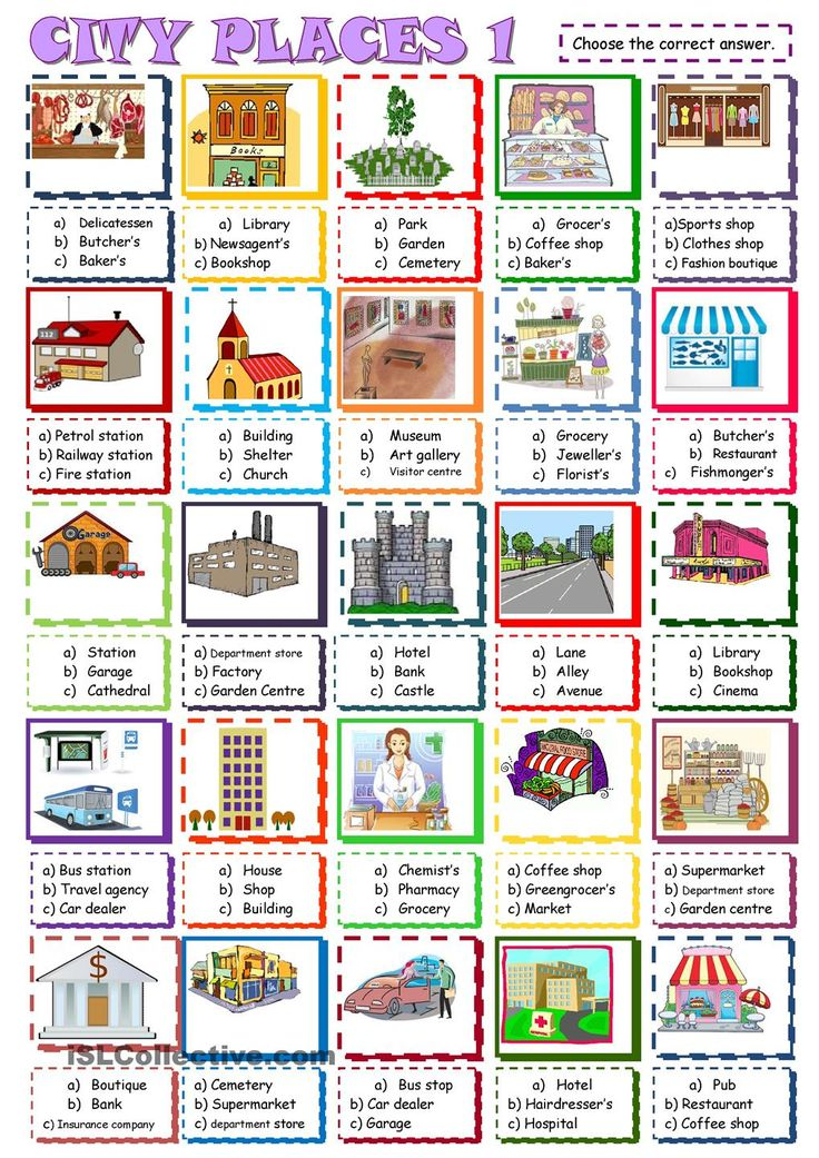 city places: multiple choice activity1. ESL worksheet of the day by sylviepieddaignel. March 26, 2015