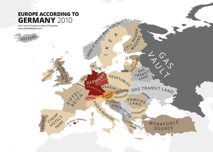 Europe according to Germany Atlas of Prejudice – A Complete Guide To National Stereotypes | Drungli Blog - - Means Good Bye