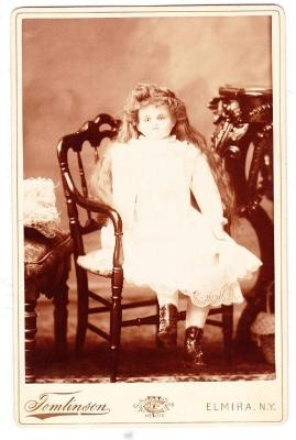 DOLL COLLECTORS Doll photo cabinet card of LARGE DOLL in a Chair c 1880