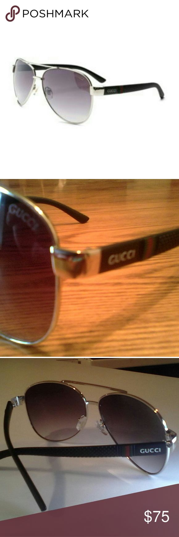 Gucci Aviator Sunglasses Gucci/Italy Unisex Aviator Polarized Sunglasses. Purchased from Sunglasshut inside Macy's. Worn very rarely, in brand new condition, not a scratch or sign of wear. I no longer have access to the leather Gucci case they came in. A while ago my sister asked me if she could have it and considering I keep all my sunglasses in my closet showcase, I said yes. However, I should have a plain sunglasses case to ship them in for safe shipping. My listing price accounts for not…
