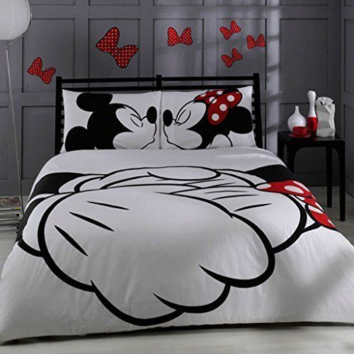 100% Turkish Cotton Disney Mickey & Minnie Full Double Queen Size Quilt Duvet Cover Set Bedding Licensed