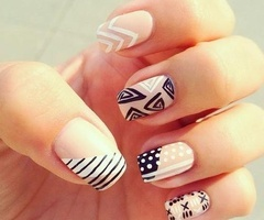 Nude nail designs   Mix and Match Patterns
