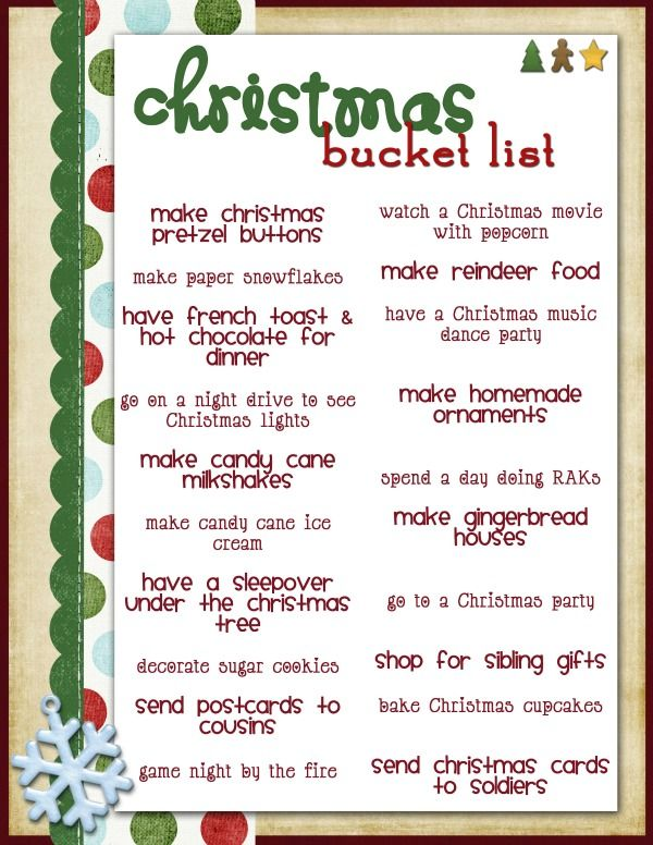 Best 25 christmas bucket lists ideas on pinterest - Nine must have things for a couple to be happy ...