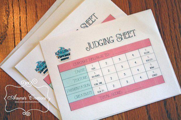 Cupcake Wars Birthday Party Judging Sheets                                                                                                                             More