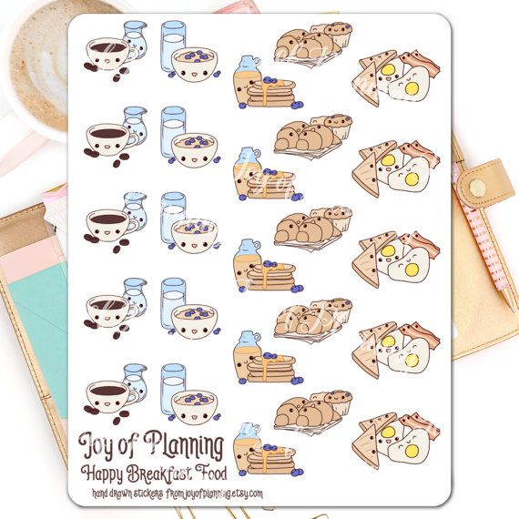 Breakfast planner stickers planning cute food by JoyofPlanning