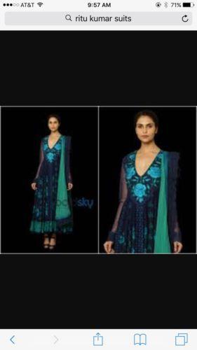 Ritu Kumar three PC. Stunning Blue Anarkali In Small – A2Z Smartstore.com