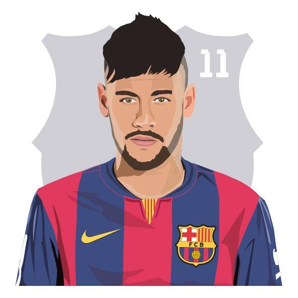 Neymar Illustration created in Adobe Illustrator   more work on www.johnson23.com #neymar #barcelona #barca #football #soccer #brazil #art