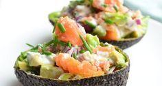 gevulde avocado met gerookte zalm