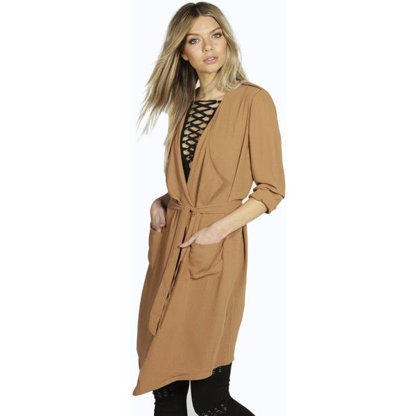 Boohoo Isabella Longline Lightweight Trench (£23) ❤ liked on Polyvore featuring outerwear, coats, camel, beige trench coat, lightweight rain coat, quilted trench coat, camel trench coat and trench coat