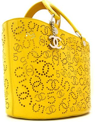 #Chanel: Yellow patent leather perforated tote