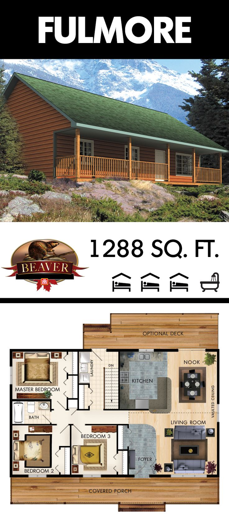 With nearly 1290 sq. ft. of space, the Fulmore model has 3 comfortably sized #bedrooms, and features an abundance of #storage space throughout. #BeaverHomesAndCottages.
