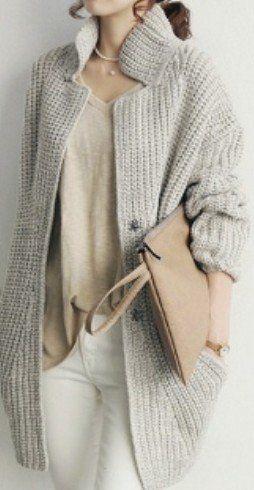 Women Knit Cardigan in Gray CW10408J49