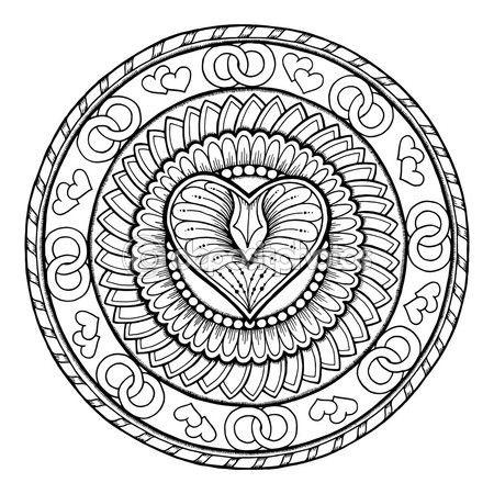 Letöltés - Szerelmi téma. Kör törzsi doodle dísz-szív. Kézzel rajzolt art mandala. Fekete-fehér etnikai háttér. Zentangle minta a kifestőkönyv a felnőttek és a gyerekek — Stock Illusztráció #114275068