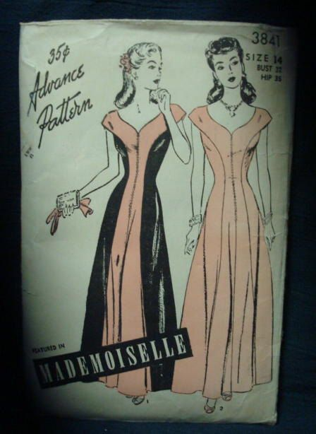 1940s Evening Dress Evening Gown Pattern Advance 3841 by kinseysue
